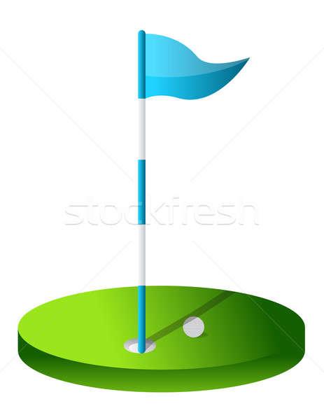 Golfe buraco grama bandeira clube Águia Foto stock © alexmillos