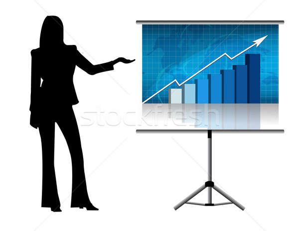 Vrouwelijke presentatie business kantoor kaart pak Stockfoto © alexmillos