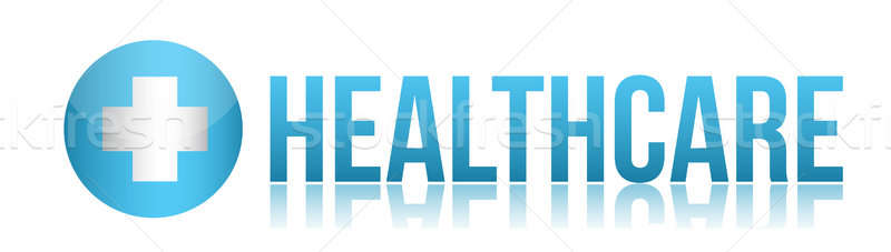 Health care sign illustration design over white Stock photo © alexmillos