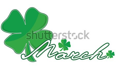 March headline with group of shamrocks over a white background Stock photo © alexmillos
