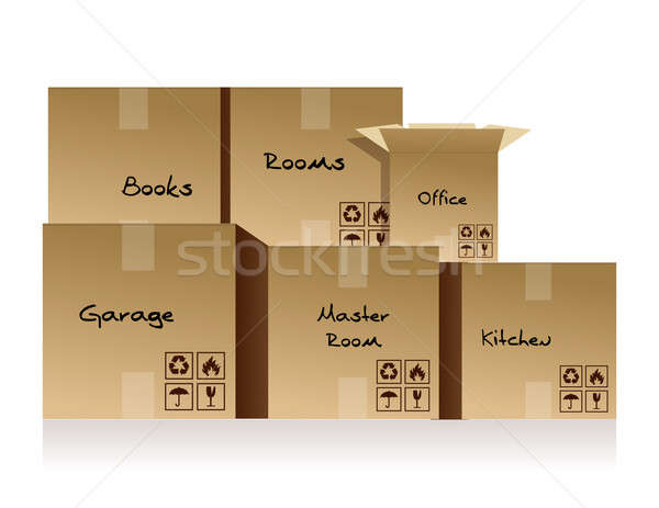 Piles of cardboard boxes on a white background Stock photo © alexmillos