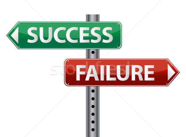 Succes mislukking wegwijzer witte financiële concept Stockfoto © alexmillos