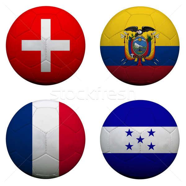 Voetbal groep teams vlaggen voetbal Stockfoto © alexmillos