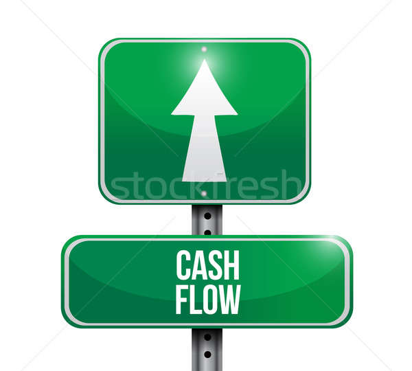 cash flow road sign illustrations design over white Stock photo © alexmillos