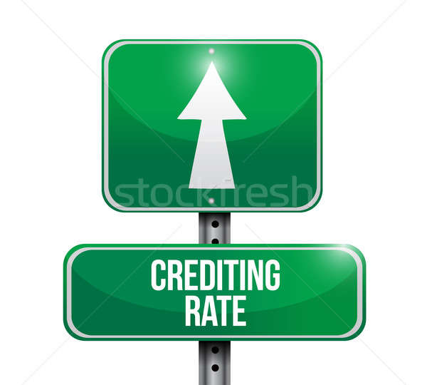 crediting rate road sign illustration design over white Stock photo © alexmillos