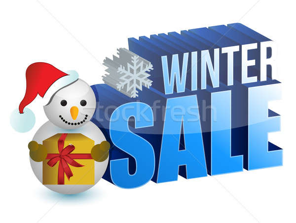 winter sale snowman sign illustration design over a white backgr Stock photo © alexmillos