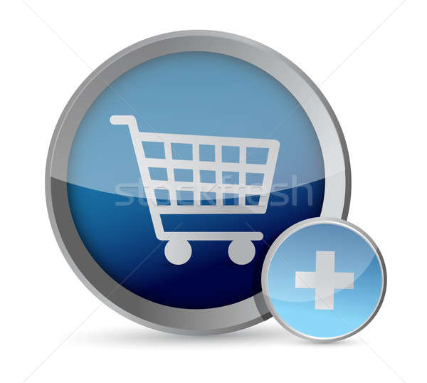 shopping cart button illustration design over a white background Stock photo © alexmillos