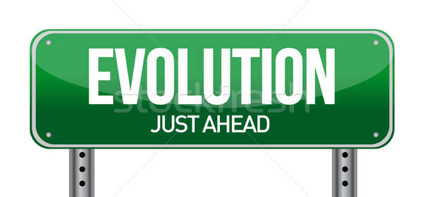 evolution road sign illustration design over white Stock photo © alexmillos