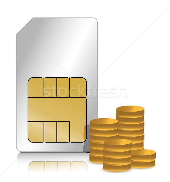 Gouden munten illustratie ontwerp witte computer geld Stockfoto © alexmillos