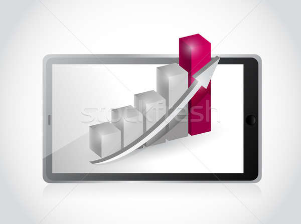 tablet and business graph illustration design over a white backg Stock fotó © alexmillos