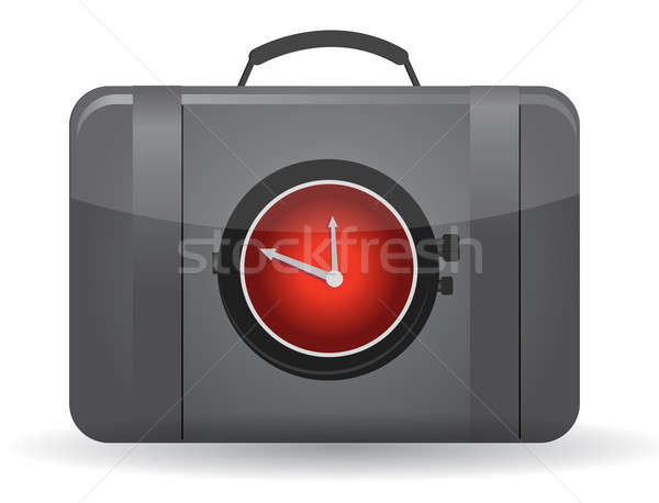 Bag with a watch in the front illustration design Stock photo © alexmillos