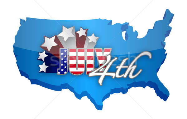 forth of july map sign illustration design over a white backgrou Stock photo © alexmillos