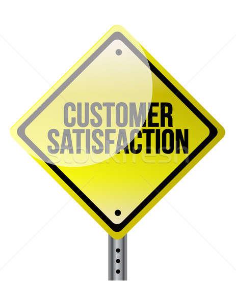 Satisfação do cliente placa sinalizadora ilustração projeto branco rua Foto stock © alexmillos