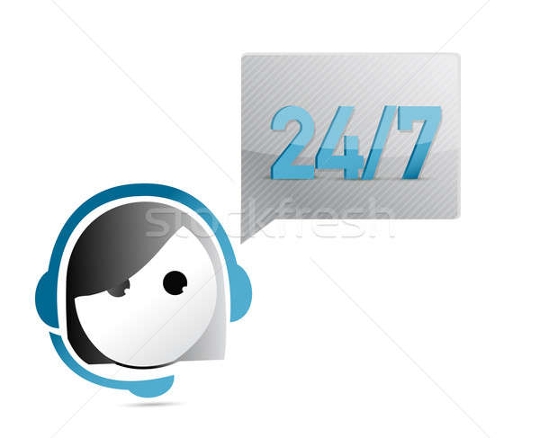 24 7 customer support illustration design over a white backgroun Stock photo © alexmillos