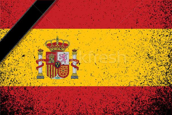 Bellek İspanya grunge bayrak mürekkep Stok fotoğraf © alexmillos