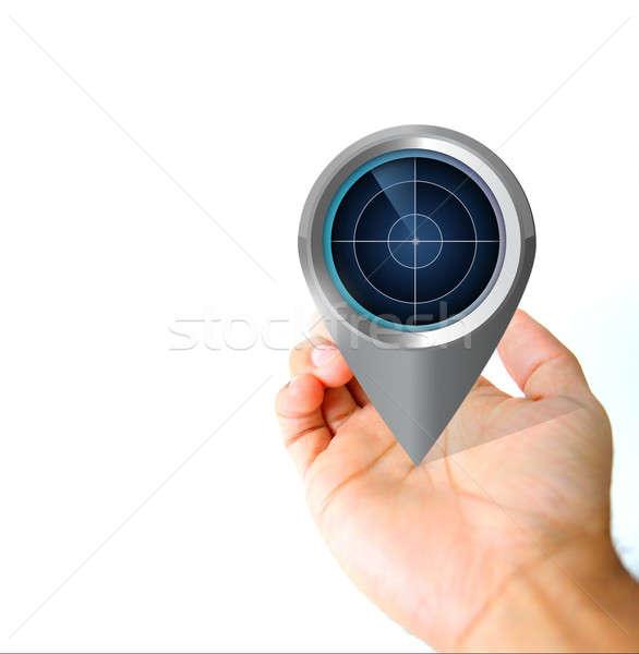 Mão radar pin ícone ilustração Foto stock © alexmillos