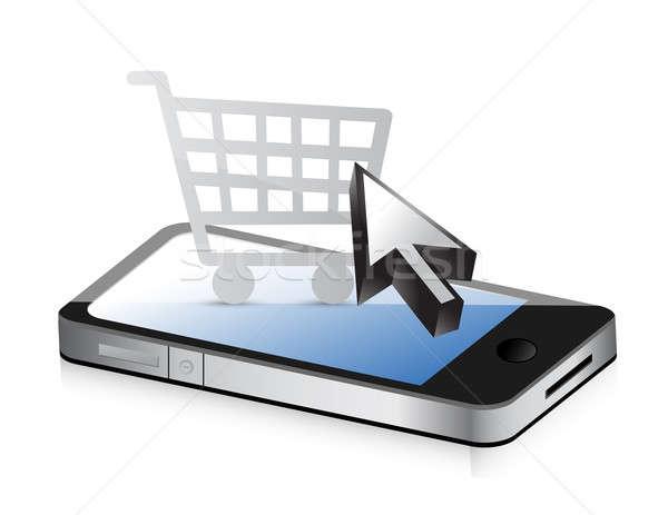 Warenkorb Technologie Telefon online Laden Illustration Stock foto © alexmillos