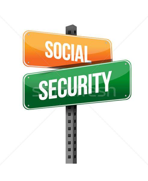 Társadalombiztosítás illusztráció terv fehér út internet Stock fotó © alexmillos