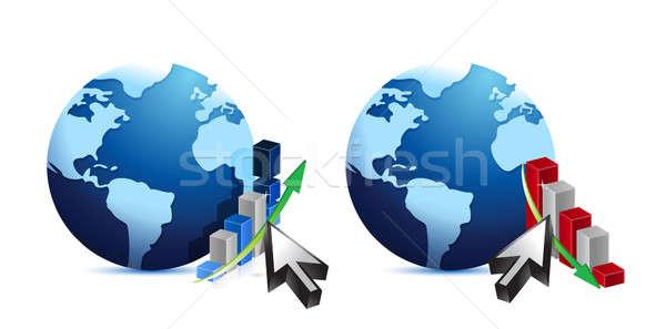 Földgömb üzlet grafikonok illusztráció terv fehér Stock fotó © alexmillos