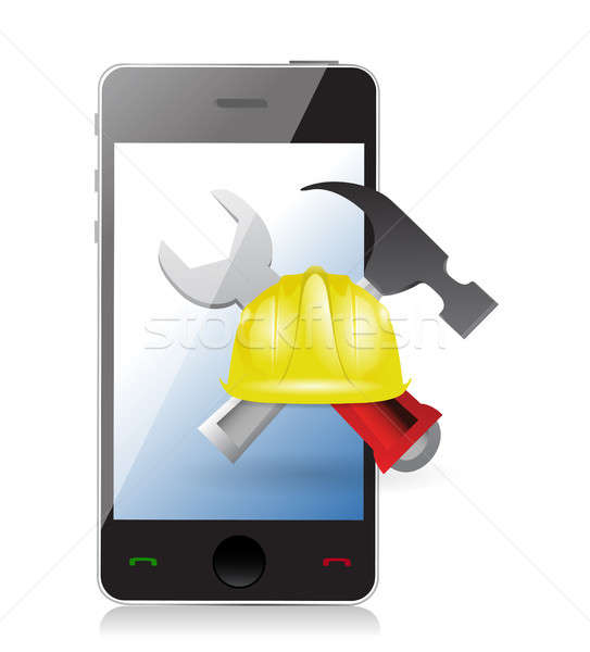 phone with issues and under construction sign Stock photo © alexmillos