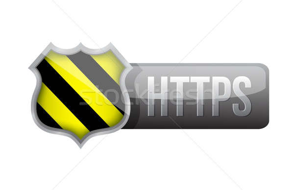 shield https security over white background. Stock photo © alexmillos
