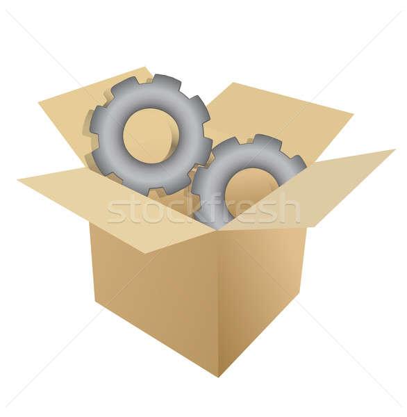 cardboard box gear illustration design over white Stock photo © alexmillos