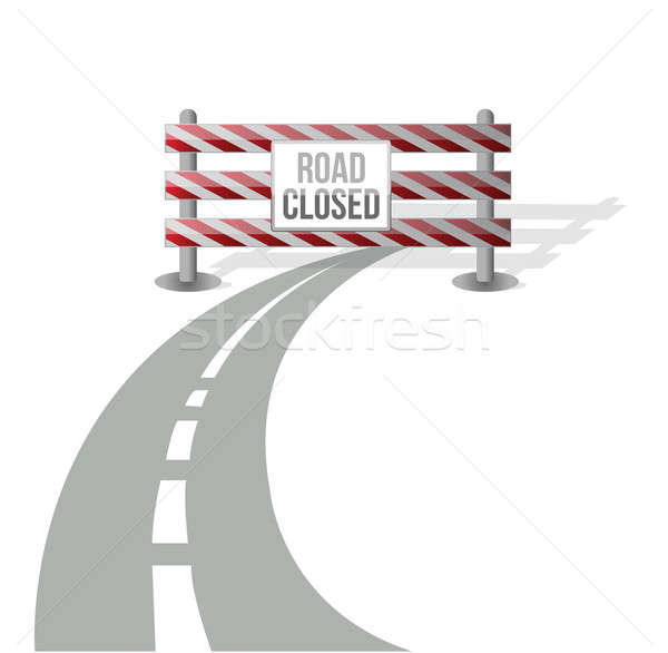 Closed road illustration design over white background Stock photo © alexmillos