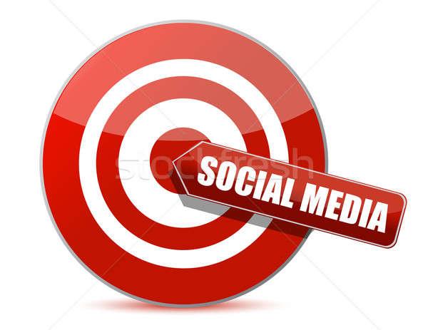 target bulls eye social media illustration design on white Stock photo © alexmillos