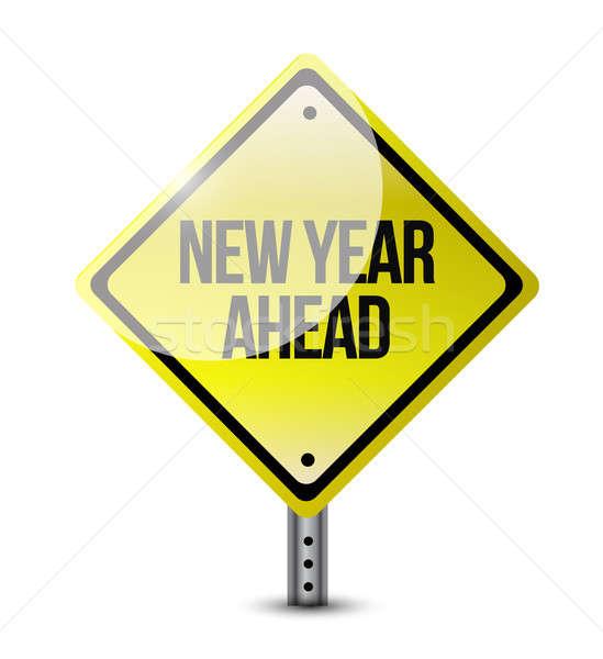 Сток-фото: Новый · год · впереди · дорожный · знак · иллюстрация · дизайна · белый