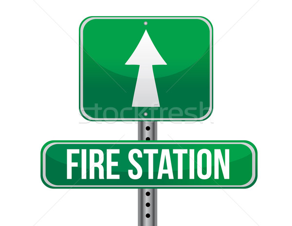 fire station road sign illustration design over a white backgrou Stock photo © alexmillos