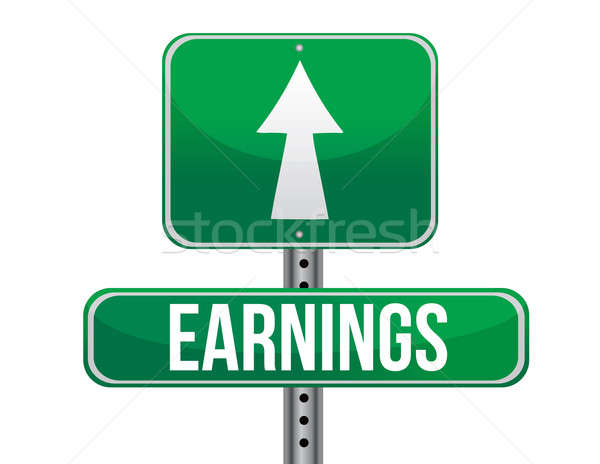 Earn road sign illustration design over a white background Stock photo © alexmillos