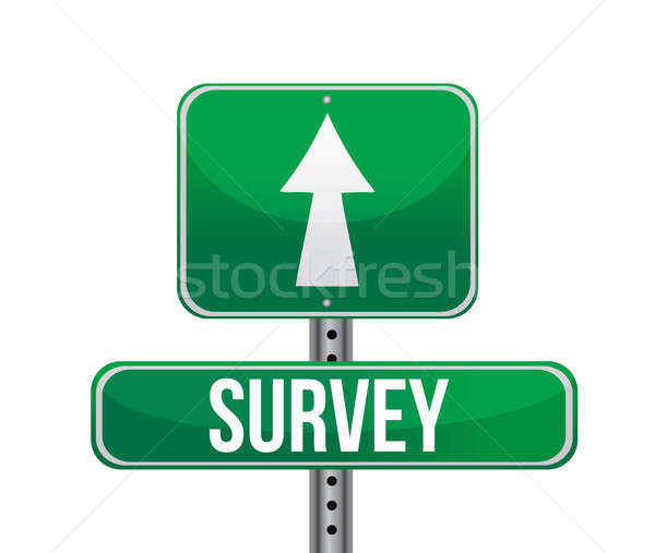 Illustration depicting a sign with a survey concept. illustratio Stock photo © alexmillos