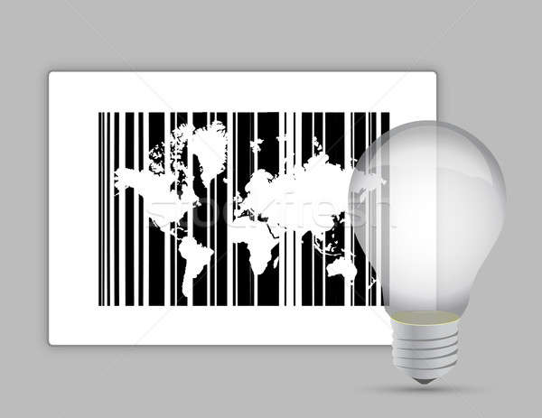 map barcode and lightbulb illustration design graphic Stock photo © alexmillos