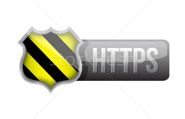 shield https security over white background. illustration design Stock photo © alexmillos