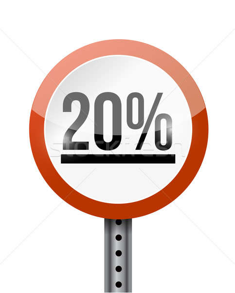20 yüzde yol işareti örnek dizayn beyaz Stok fotoğraf © alexmillos