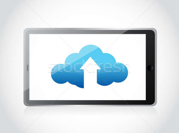 cloud upload and arrow illustration design over a white backgrou Stock photo © alexmillos