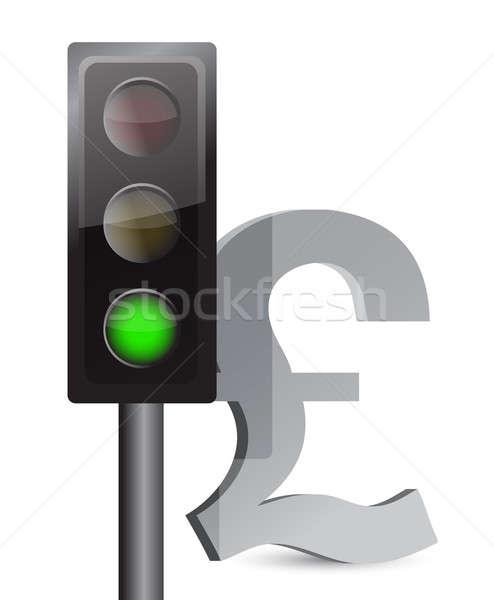 Zielone świetle funt ilustracja projektu biały Zdjęcia stock © alexmillos