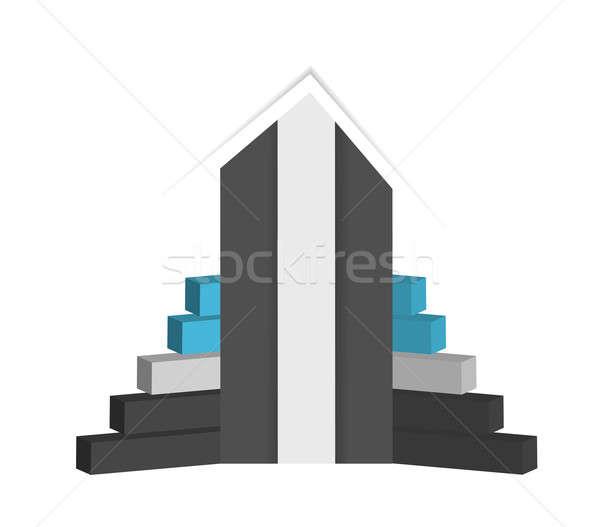 Foto stock: único · três · maneira · gráfico · de · negócio · ilustração · projeto