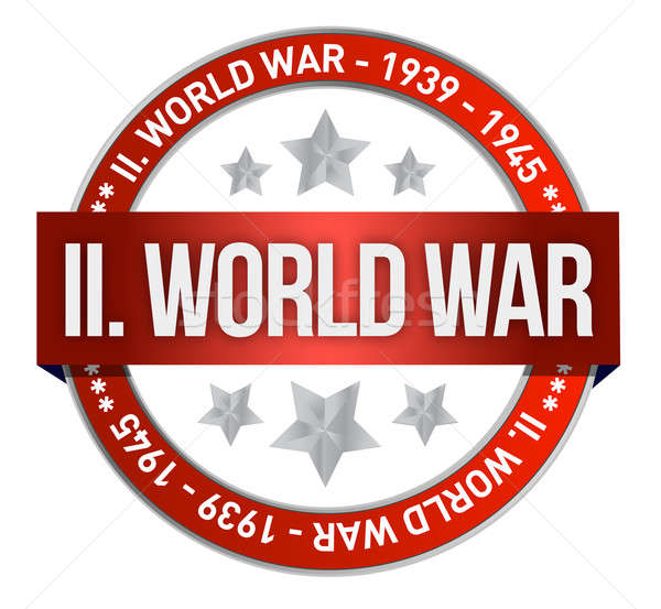 world war two red seal stamp illustration design over white Stock photo © alexmillos