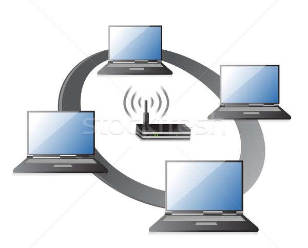 WIFI / WLAN Laptops connection Concept illustration design over  Stock photo © alexmillos
