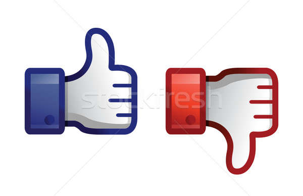 thump up & thumb down illustration design over white Stock photo © alexmillos