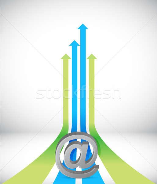 internet Arrow rising toward same direction success concept illu Stock photo © alexmillos