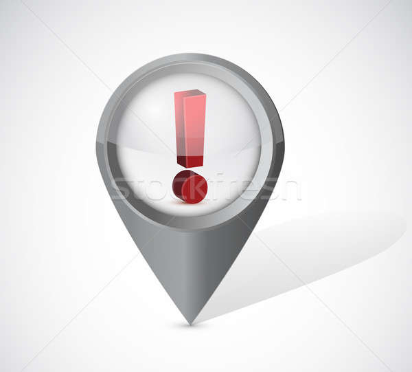 exclamation notice locator illustration design over a white back Stock photo © alexmillos