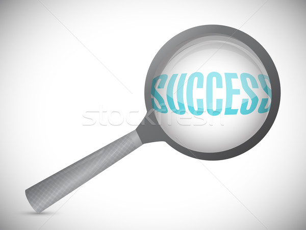 Magnifying glass showing success word on white background Stock photo © alexmillos
