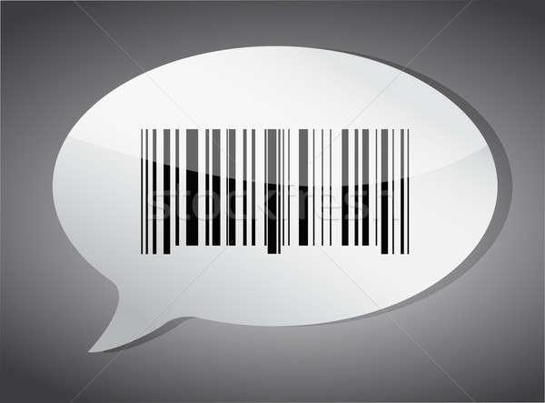 Barcode label speech bubble illustration design over a dark back Stock photo © alexmillos