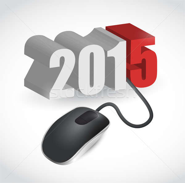 computer mouse connected to 2015 illustration design over white Stock photo © alexmillos