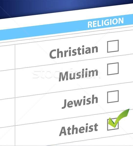 Godsdienst Blauw overzicht illustratie ontwerp weg Stockfoto © alexmillos