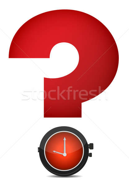 red question mark and watch illustration design Stock photo © alexmillos