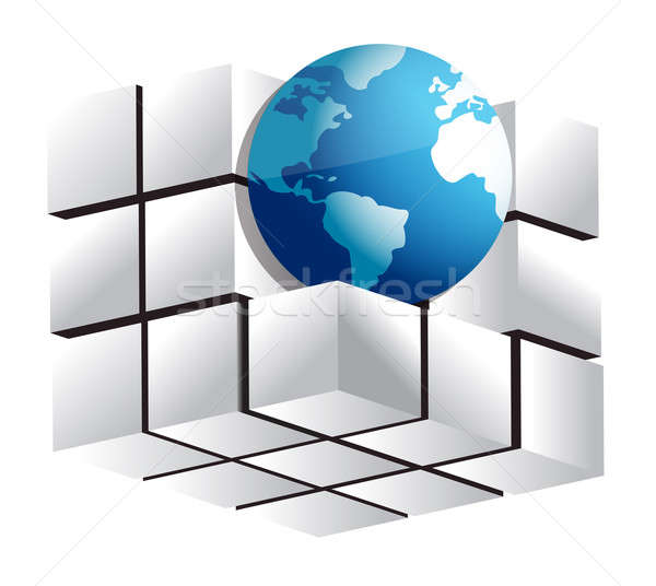 Globe and 3d cube Stock photo © alexmillos