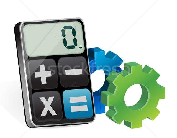 Industrial gear and modern calculator  Stock photo © alexmillos
